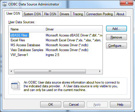 The ODBC Data Source Administrator Is Displayed
