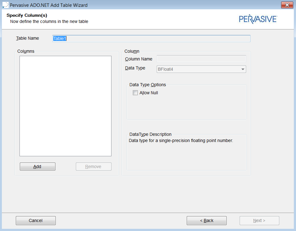 Using the PSQL Data Providers in Visual Studio